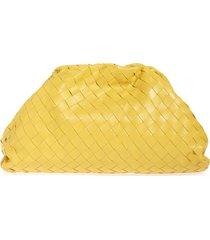 bottega veneta intrecciato leather pouch - yellow