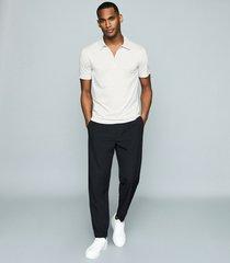 reiss anthony - self-start rib zip-neck polo shirt in ice blue, mens, size xxl