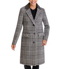 bcbgeneration faux-leather-collar plaid walker coat
