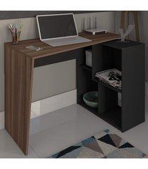 mesa escrivaninha urban 2 prateleiras ipê/preto - artany