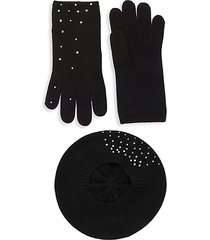 2-piece embellished cashmere beret & gloves set