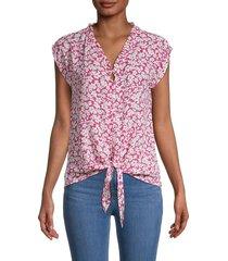 bobeau women's floral tie-front blouse - fuchsia - size s