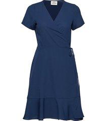 crepe georgette drolla jurk knielengte blauw mads nørgaard