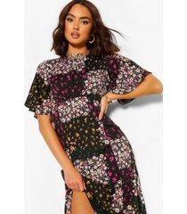 bloemenprint midi jurk, zwart