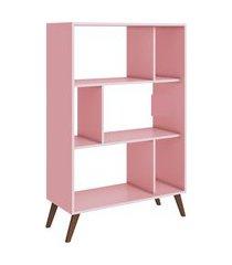 estante baixa movelbento com nichos rosa