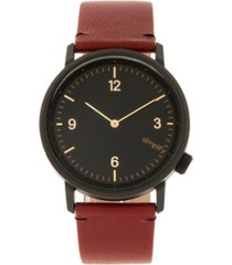 simplify quartz the 5500 black dial, genuine maroon leather watch 41mm