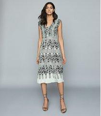 reiss avery - printed midi dress in aqua, womens, size 14