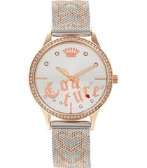 juicy couture women's two-tone stainless steel, swarovski crystal & mesh bracelet watch