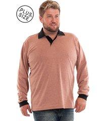 camisa konciny polo plus size malhão salmão