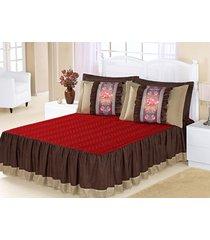 kit colcha (colcha + porta travesseiro) queen bia vermelho com tabaco liso com 5 peças - aquarela - tricae