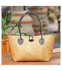 leather accent rattan handle handbag, 'black summer braids' (indonesia)