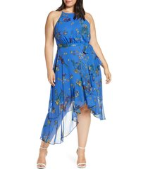 plus size women's cece watercolor floral halter neck asymmetrical hem dress, size 18w - blue