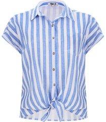 camisa con nudo a rayas color blanco, talla 6