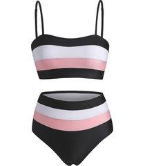 colorblock striped high rise bikini swimwear