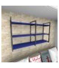 prateleira industrial para sala aço preto prateleiras 30 cm azul escuro modelo ind11azsl