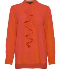 elna light ruffle shirt blus långärmad orange french connection