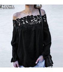 zanzea mujer off hombro encaje floral playa tops verano camisetas blusas -negro