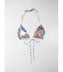 versace logo print bikini top