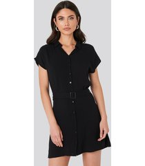 trendyol belted shirt mini dress - black