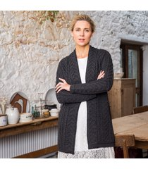 the oranmore aran coat charcoal xl