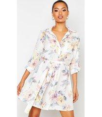 bloemenprint blouse jurk, crème