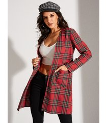 yoins red two large pockets plaid long sleeves coat