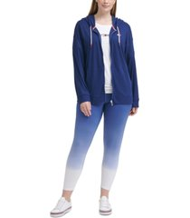 tommy hilfiger sport plus size waffle-knit zip-front hoodie