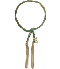 carolina bucci 18kt yellow gold and turquoise silk lucky wisdom charm
