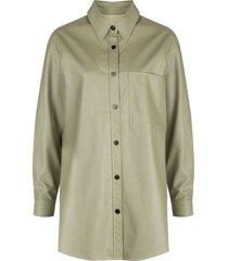 apparis faux-leather shirt - green