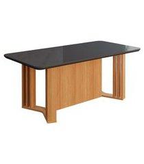 mesa de jantar retangular com tampo de vidro celine chumbo e nature 180 cm
