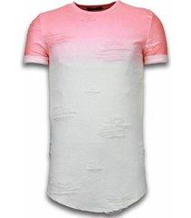 t-shirt korte mouw justing flare effect long fi dual ed zalm