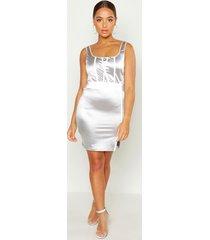 square neck reflective panel mini dress, silver
