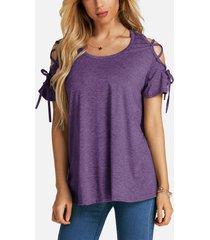 camiseta morada con cordones diseño round cuello