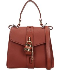 chloé aby hand bag in brown leather