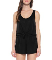 women's becca breezy basics knot cover-up romper, size small - black
