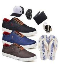 kit 3 pares sapatênis polo blu casual preto/azul/café acompanha chinelo + boné + cinto + meia + carteira + relógio