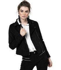 chaqueta kassi negro cruzada y flecos fashions pacific