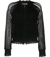 twin-set jaqueta bomber de tricô e crochê - preto