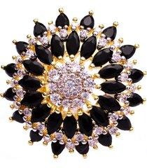 anel boca santa semijoias flor de lótus negra ouro amarelo preto