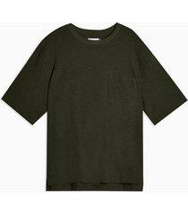 mens khaki green textured boxy t-shirt