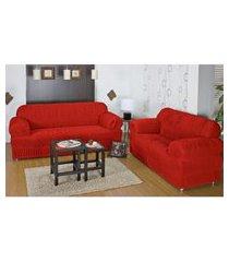 kit capa protetora sofá 3 e 2 lug 21 elásticos malha gel vermelho