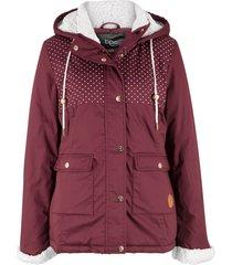 giacca con cappuccio in pellicciotto sintetico (rosso) - bpc bonprix collection
