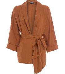 blusa kimono iorane - marrom