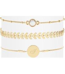 wren initial howlite bracelet set