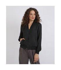 blusão feminino com zíper de argola preto