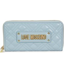 love moschino women's quilted faux leather wallet - light blue