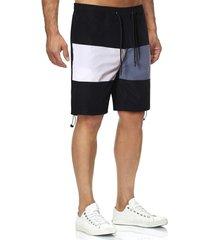 colorblock toggle drawstring hem casual shorts