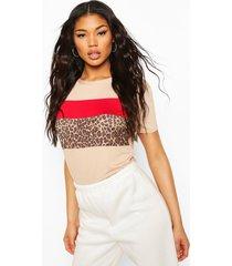 leopard print colour block t-shirt, sand