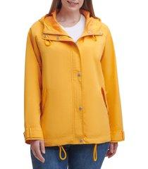 plus size women's levi's hooded peached water resistant rain jacket, size 3x - orange
