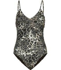 leana frill swimsuit badpak badkleding multi/patroon becksöndergaard